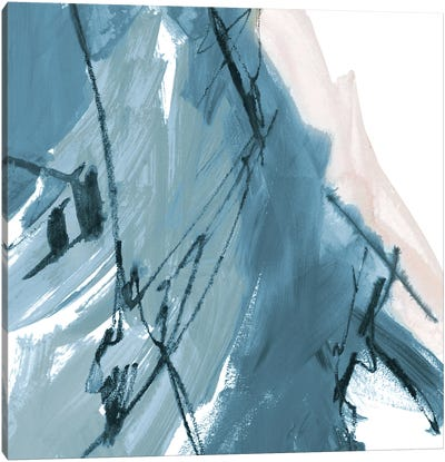Blue on White Abstract I Canvas Art Print