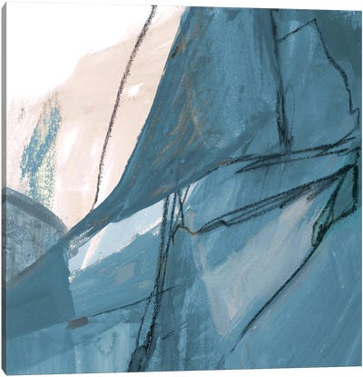 Blue on White Abstract II Canvas Art Print