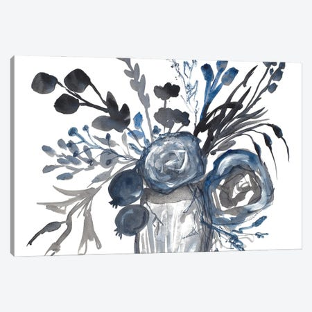 Blue Roses in Grey Vase Canvas Print #RMR38} by Robin Maria Canvas Print