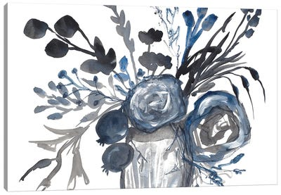 Blue Roses in Grey Vase Canvas Art Print