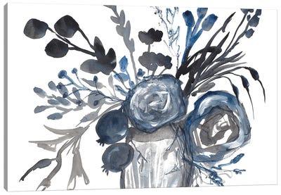 Blue Roses in Grey Vase Canvas Art Print