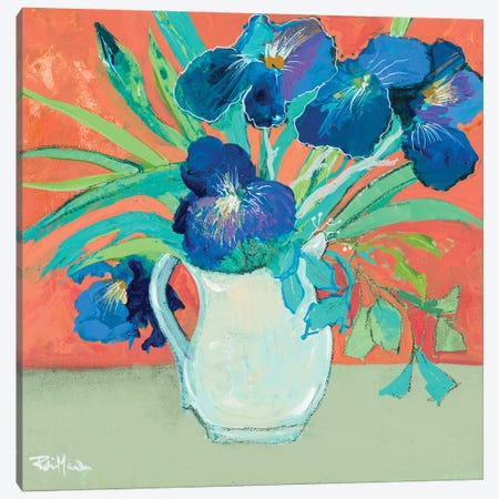 Blue Springtime Vase Canvas Print #RMR39} by Robin Maria Canvas Art Print