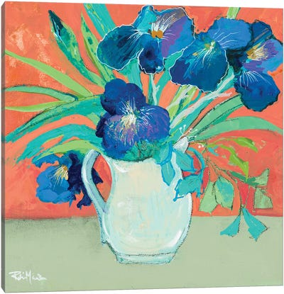 Blue Springtime Vase Canvas Art Print