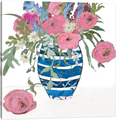 Blue Vase of Pink Roses Canvas Art Print