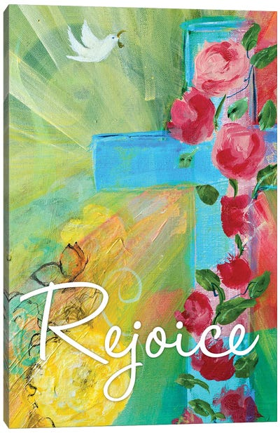 Rejoice Cross Canvas Art Print
