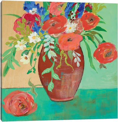 Vase of Peach and Blue Roses Canvas Art Print