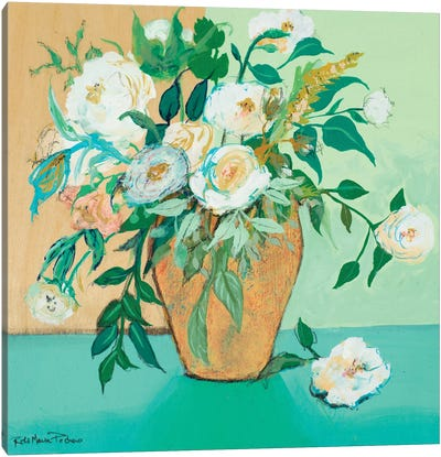 Vase of White Roses Canvas Art Print