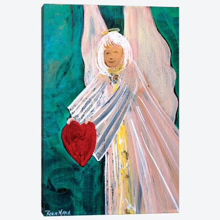 Angel Sharing Heart Canvas Print #RMR6} by Robin Maria Canvas Wall Art