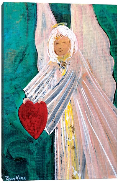 Angel Sharing Heart Canvas Art Print