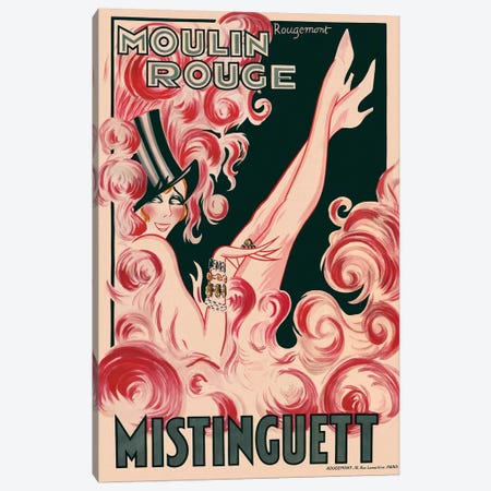 Moulin Rouge Mistinguett Advertisement, 1925 Canvas Print #RMT1} by Rougemont Art Print