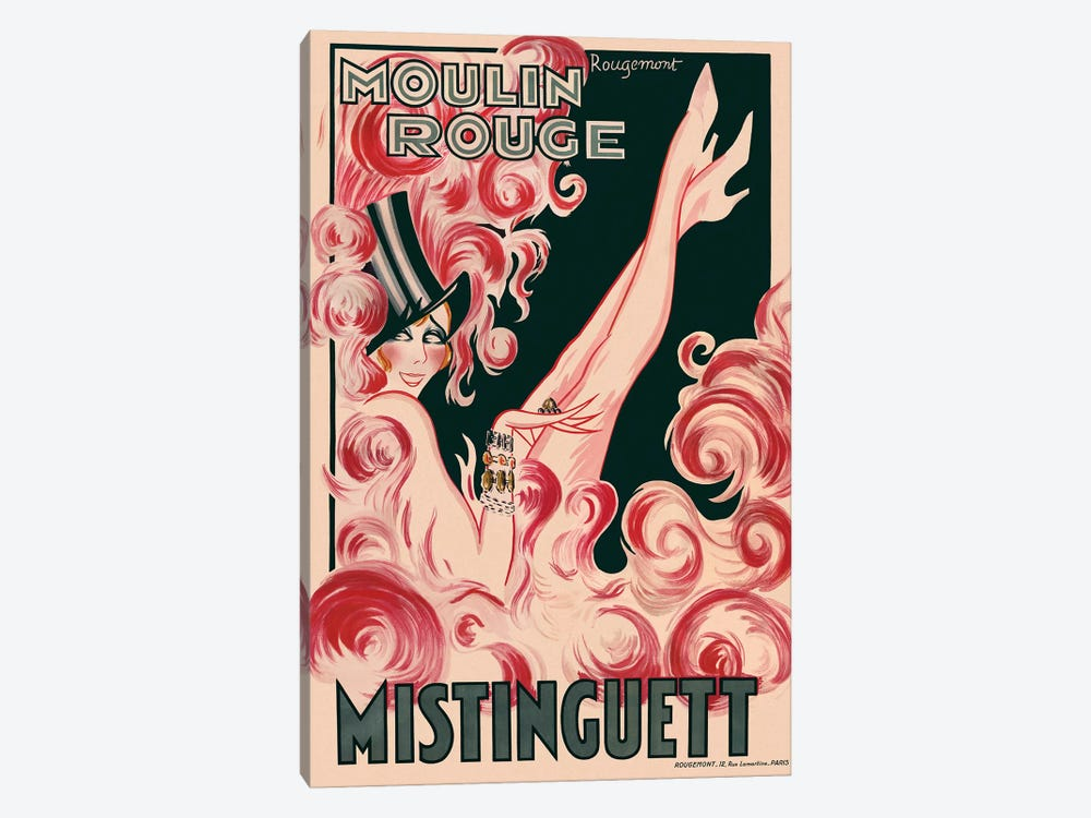Moulin Rouge Mistinguett Advertisement, 1925 by Rougemont 1-piece Canvas Print