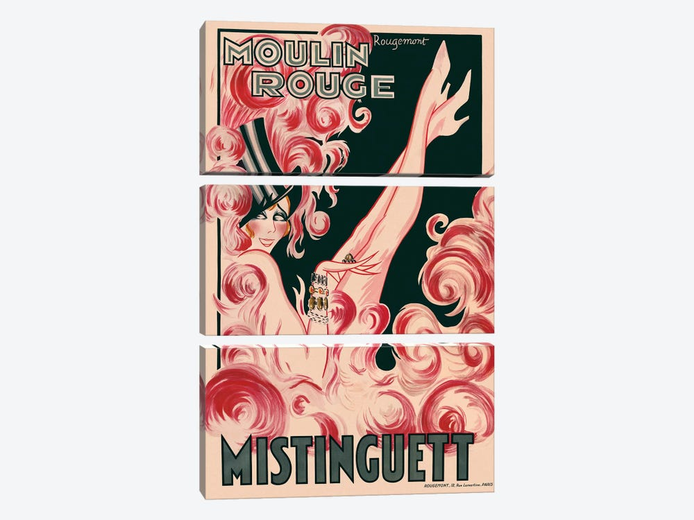 Moulin Rouge Mistinguett Advertisement, 1925 by Rougemont 3-piece Art Print
