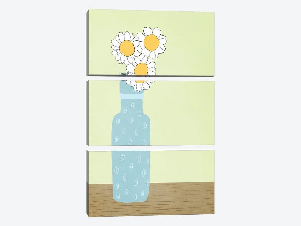 Blue Daisy by Roberta Murray 3-piece Canvas Print