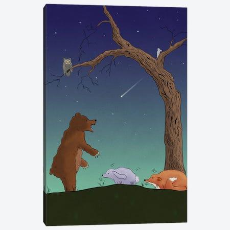 Night Bear Scare Canvas Print #RMU169} by Roberta Murray Canvas Wall Art