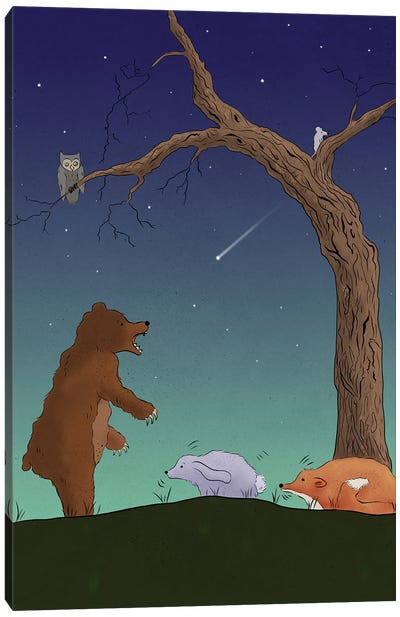 Night Bear Scare Canvas Art Print
