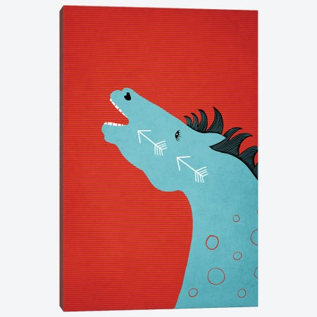 The Blue Stallion Canvas Print #RMU172} by Roberta Murray Art Print