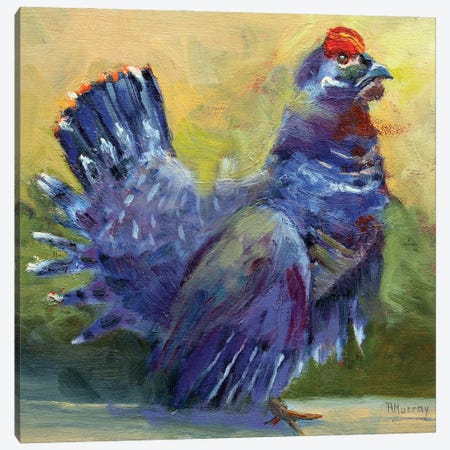 Little Grouse On The Prairie Canvas Print #RMU185} by Roberta Murray Canvas Art Print