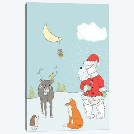 Santa Bear Canvas Print #RMU19} by Roberta Murray Canvas Art