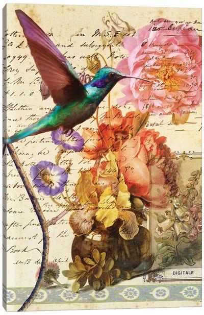 Hummingbird With Flowers Canvas Art Print