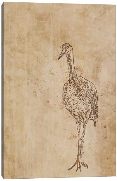 Sandhill Crane Woodblock Canvas Art Print