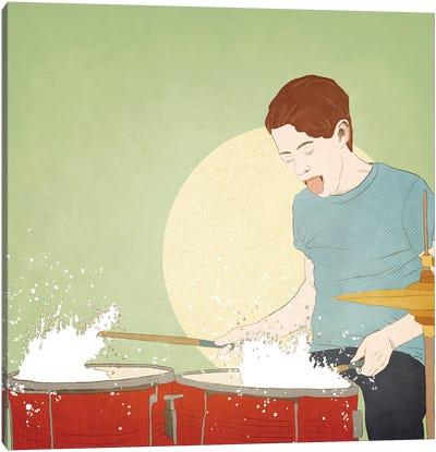 Wet Drummer Canvas Art Print