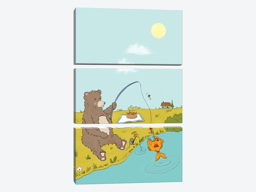 Gone Fishing by Roberta Murray 3-piece Canvas Artwork