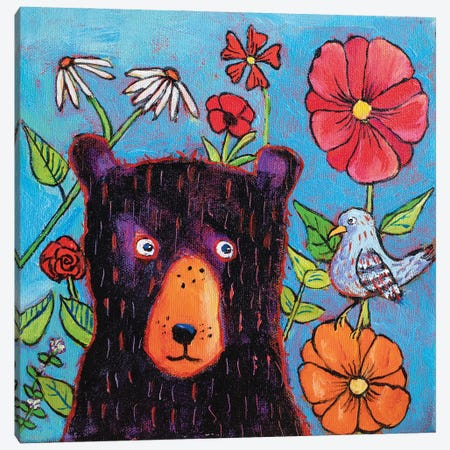 Admiring The Wildflowers Canvas Print #RMU89} by Roberta Murray Art Print
