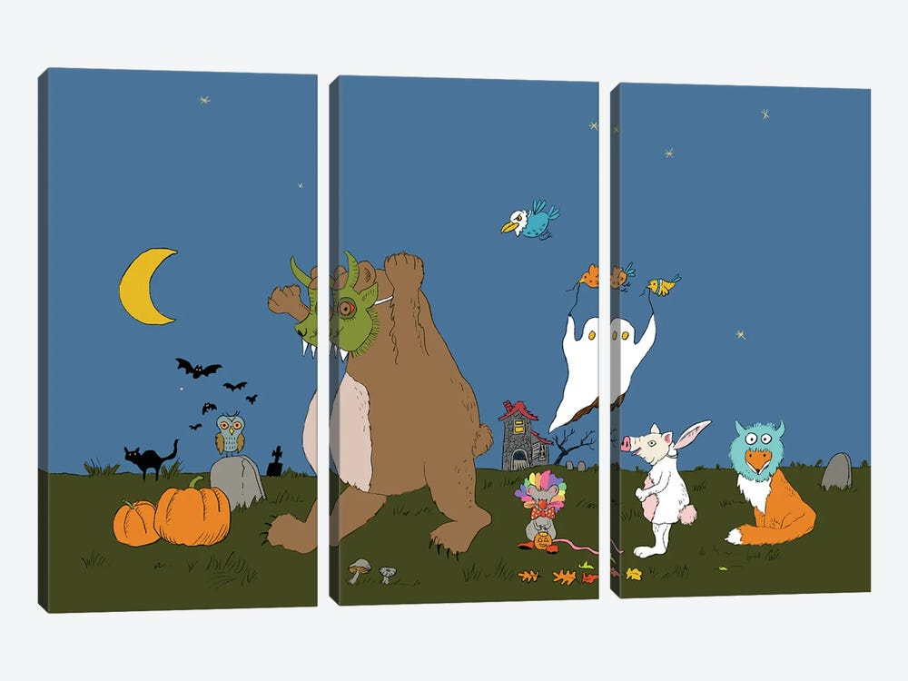 Hallow's Eve Caper by Roberta Murray 3-piece Canvas Print