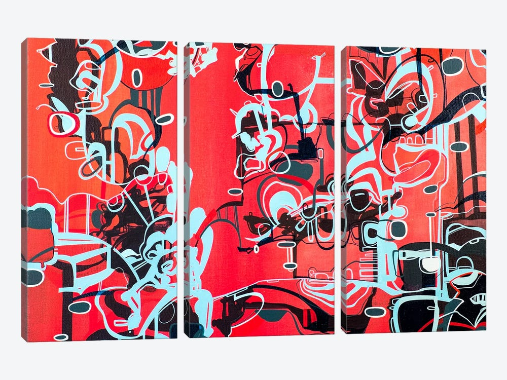 Roam-Red  by Rebecca Moy 3-piece Canvas Print