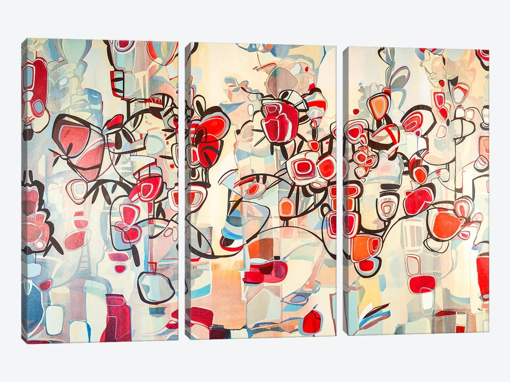 Ruby Blossoms  by Rebecca Moy 3-piece Canvas Art