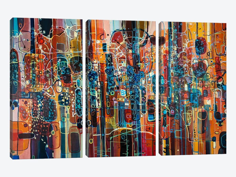Wild Red by Rebecca Moy 3-piece Canvas Artwork