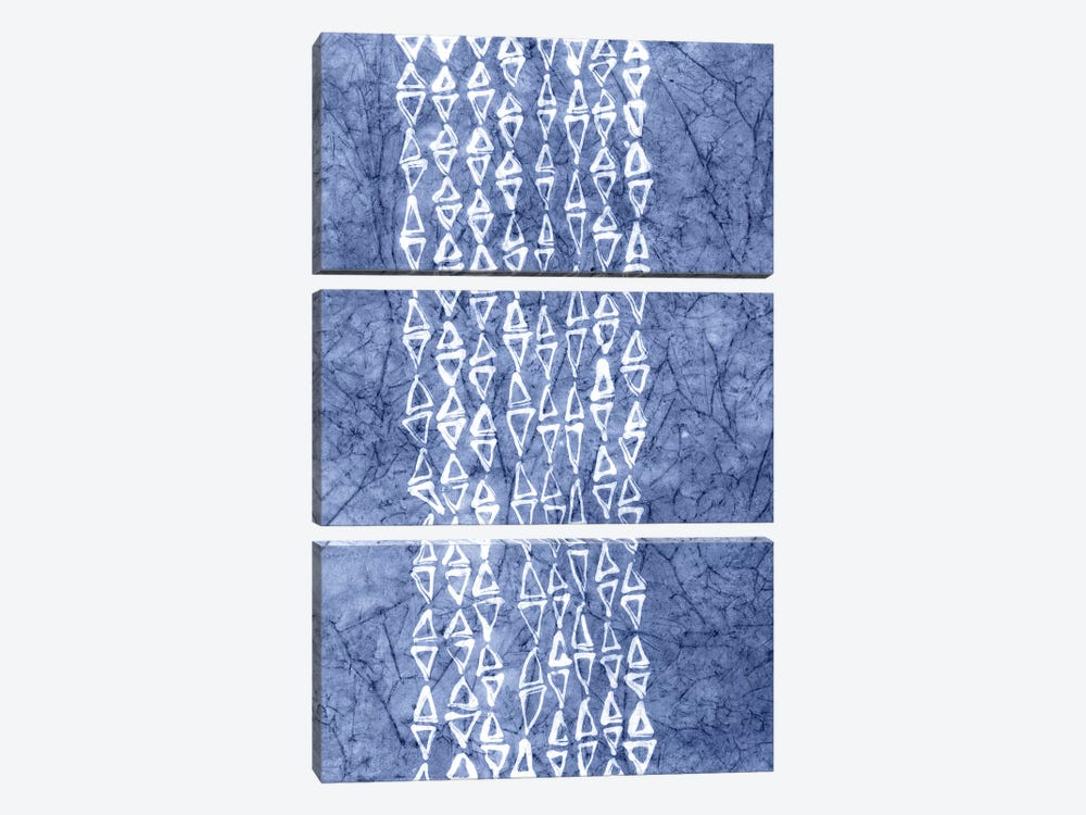 Primitive Indigo Patterns III by Renée Stramel 3-piece Canvas Wall Art