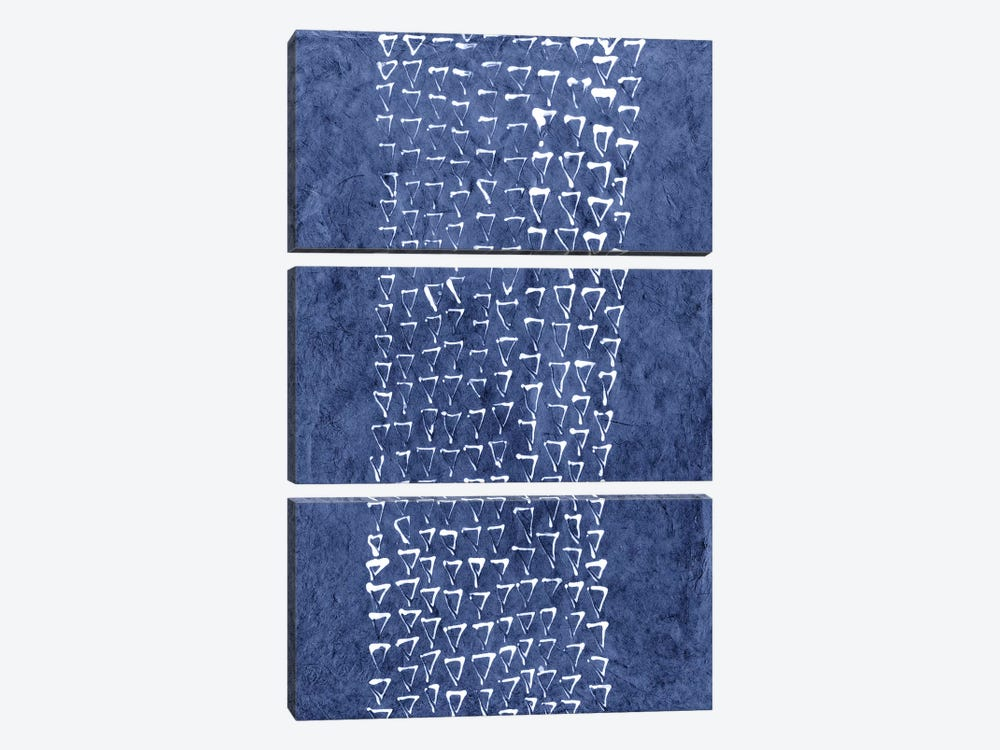 Primitive Indigo Patterns IX by Renée Stramel 3-piece Canvas Print