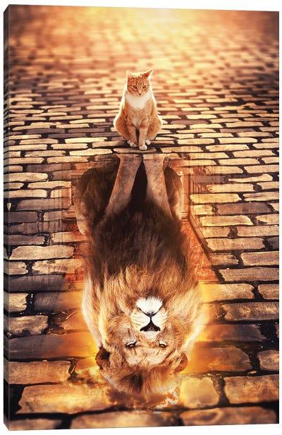 Lion Cat Reflection Canvas Art Print