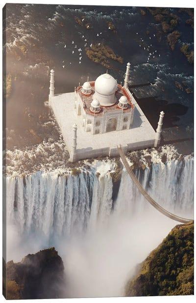 Taj Mahal Waterfall Canvas Art Print