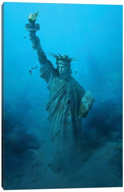 Statue Of Liberty Underwater Canvas Art Print
