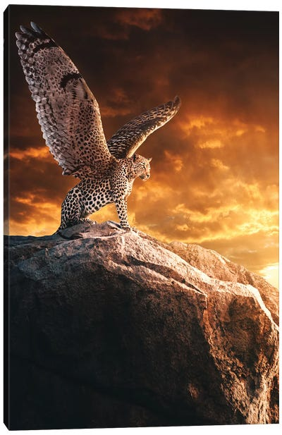 Winged Guardian At Sunset Canvas Art Print