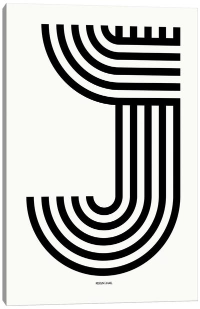 J Geometric Letter Canvas Art Print