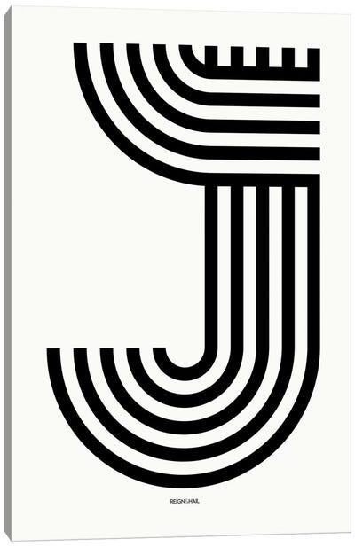 J Geometric Letter Canvas Art Print