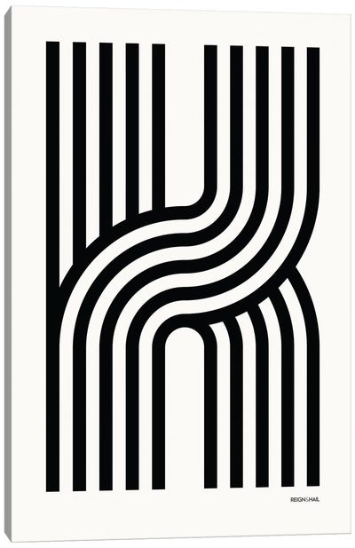 K Geometric Letter Canvas Art Print