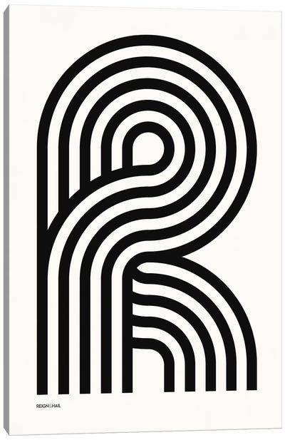 R Geometric Letter Canvas Art Print
