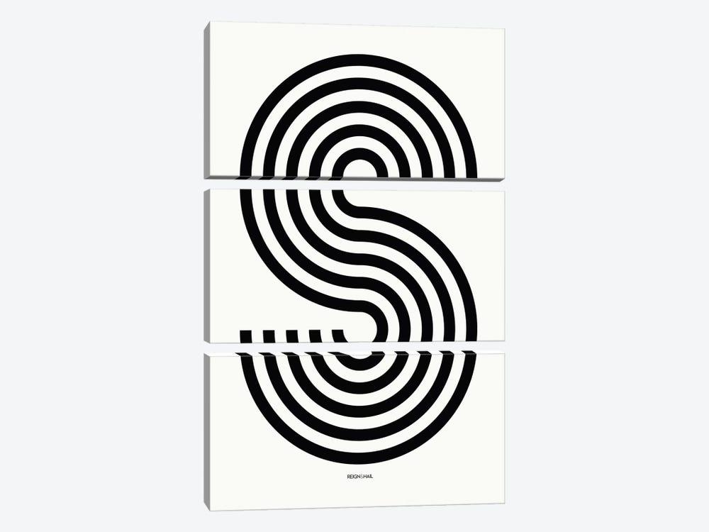 S Geometric Letter by Reign & Hail 3-piece Canvas Art Print