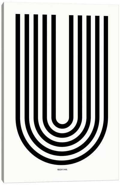 U Geometric Letter Canvas Art Print