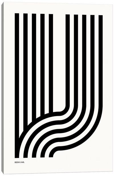 V Geometric Letter Canvas Art Print
