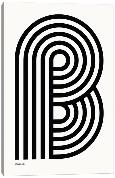 B Geometric Letter Canvas Art Print