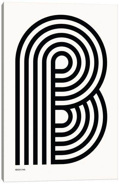 B Geometric Letter Canvas Art Print