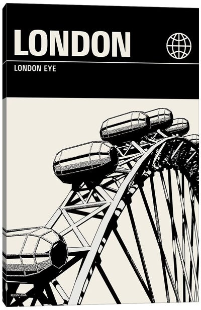 London In Black And White Canvas Art Print