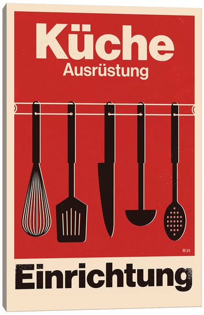 Kitchen - Swiss Style Typographic Poster. Canvas Art Print