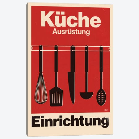 Kitchen - Swiss Style Typographic Poster. Canvas Print #RNH51} by Reign & Hail Canvas Print