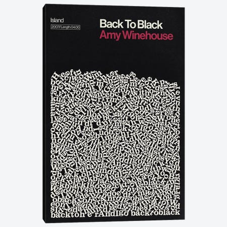 Back To Black By Amy Winehouse Lyrics Print Canvas Print #RNH52} by Reign & Hail Art Print
